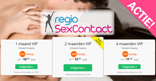 regiosexcontact korting acties 20 procent dso